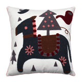"18"" x 18"" Embroidered Cotton Navy Pony Throw Pillow Cover"