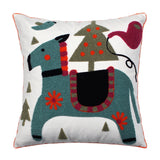 "18"" x 18"" Embroidered Cotton Teal & Orange Pony Throw Pillow Cover"