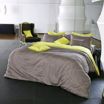 Modern Grayish Brown & Lime Yellow Duvet Cover Set