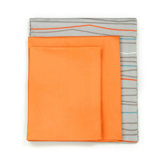 820TC Modern Gray & Orange Stripe 4 PCS Sheet Set