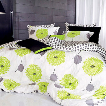 Lime Green Floral Duvet Cover Set