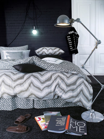 Egyptian Cotton Gray Wave Print Duvet Cover Set