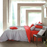 Cotton Modern Red & Gray Duvet Cover Set