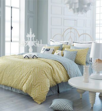 Modern Yellow and Gray Zigzag Chevron Duvet Cover Set