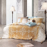 Sateen Gold Brown & Cream Damask 4 PCS Sheet Set