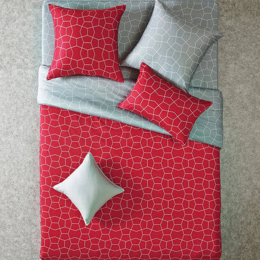 Reversible Geometric Modern Red & Gray Duvet Cover Set