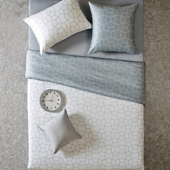 Reversible Geometric Modern White & Gray Duvet Cover Set