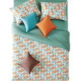 "20"" X 54"" Powder Blue & Orange Triangle Pattern Body Pillow Cover"