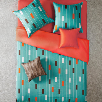 Reversible Teal & Orange Stripe Duvet Cover Set