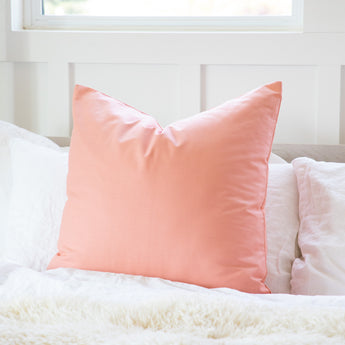 Solid Apricot / Pale Peach Accent Throw Pillow Cover