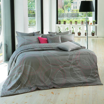 Modern Cotton Sateen Gray & Hot Pink Circle Ring Pattern Duvet Cover Set