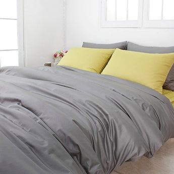 Solid Cotton Gray 3 PCS Duvet Cover Set