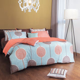 820TC Sky Blue & Peach Circle Pattern 4 PCS Sheet Set