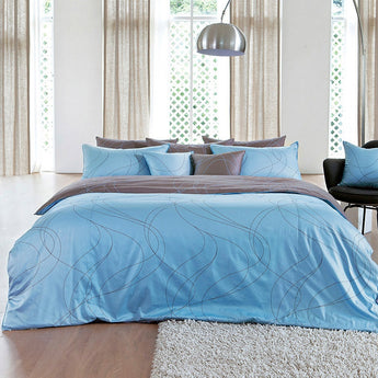 Modern Sky Blue & Brown Duvet Cover Set