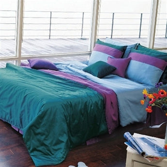 Sateen Solid Turquoise & Purple Duvet Cover Set
