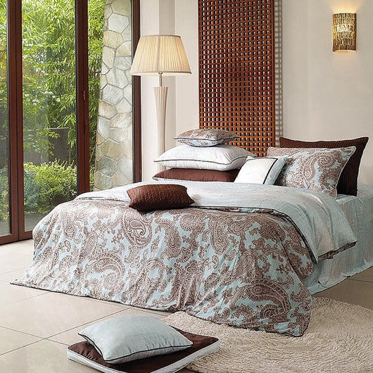 1100TC Sateen Powder Blue & Cocoa Paisley Duvet Cover Set