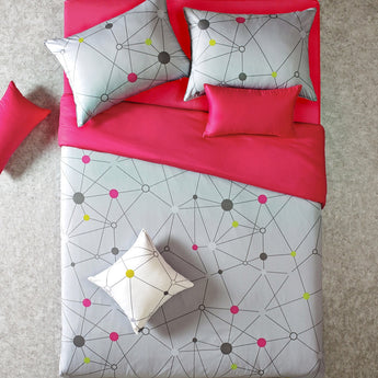 Reversible Gray & Hot Pink Geo Queen Duvet Cover Set