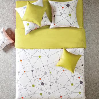 Reversible Lime Yellow Geo Queen Duvet Cover Set