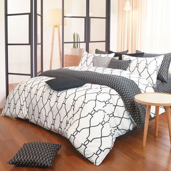 Reversible Sateen Cotton Charcoal & White Duvet Cover Set