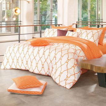 Reversible Sateen Orange & White Duvet Cover Set