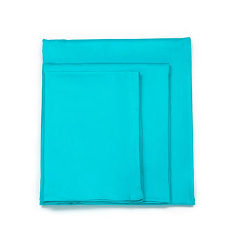 Solid Aqua Blue Cotton Duvet Cover Set