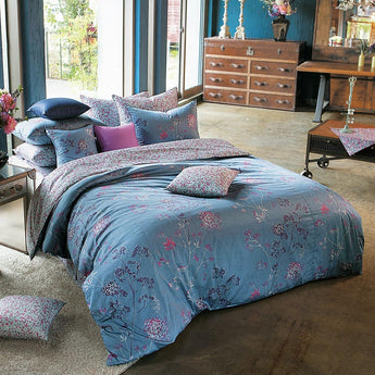 Sateen Blue, Purple & Hot Pink Floral Duvet Cover Set