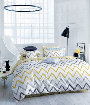 Modern White Yellow and Gray Zigzag Duvet Cover Set