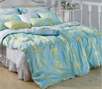 Light Blue Lime Green Damask Duvet Cover Set