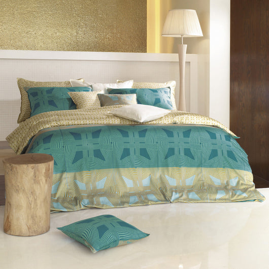 Teal Blue & Sand Gold Geo Duvet Cover Set