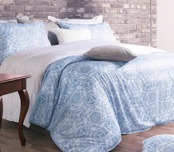 Silly Soft Egyptian Cotton Light Blue & Gray Duvet Cover Set