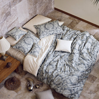 Smoky Gray Paisley Cotton Sateen Duvet Cover Set