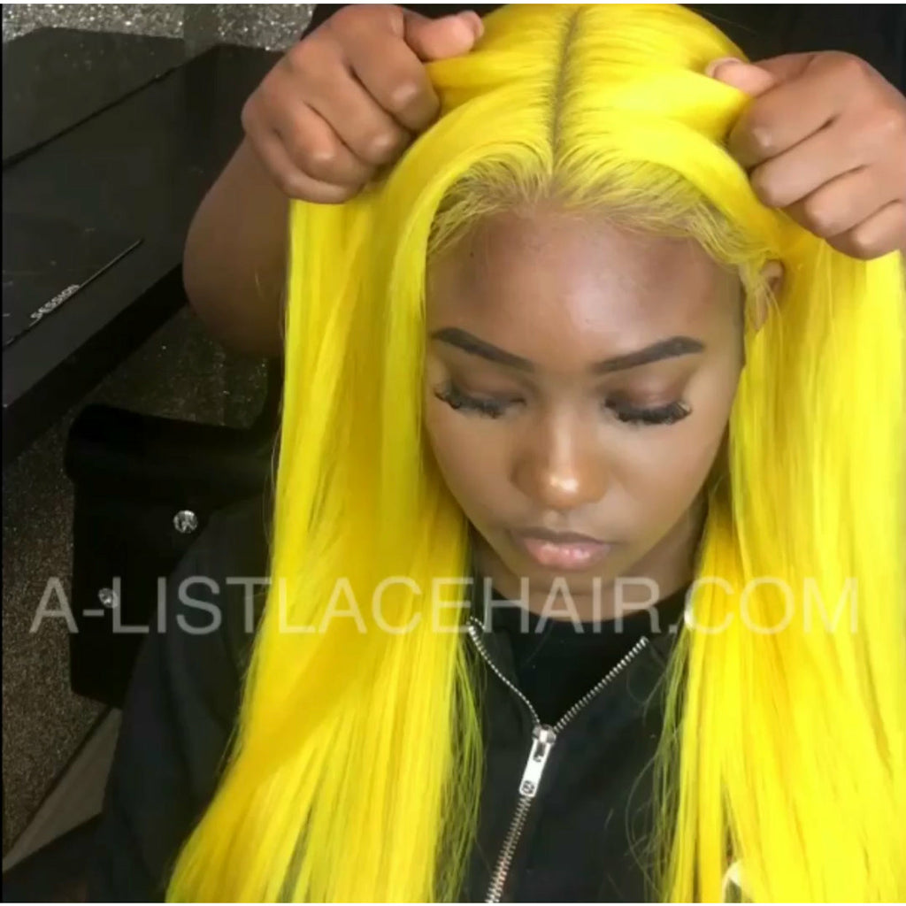 LEMON DRIZZLE Unit - Glueless Full Lace Wig - Custom Colour Yellow