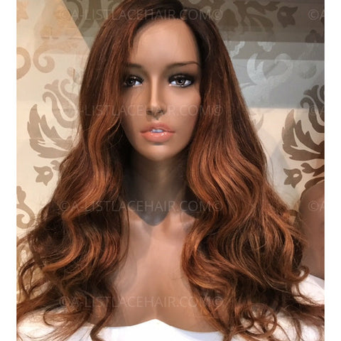 Glueless Full Lace Wig - Golden Brown Balayage