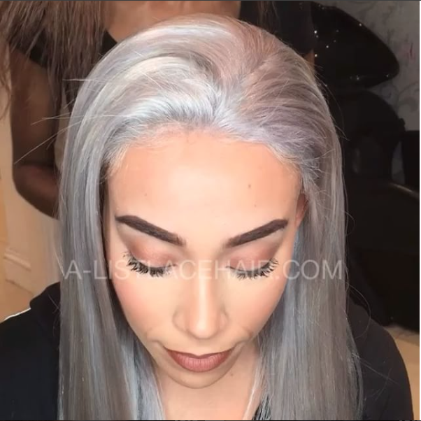 The LAILA - Icy Silver Glueless Full Lace Wig Straight