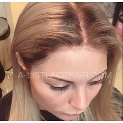 The PHOEBE ROOTED - Glueless Full Lace Wig - Colour #24 with Medium Brown Roots - Straight