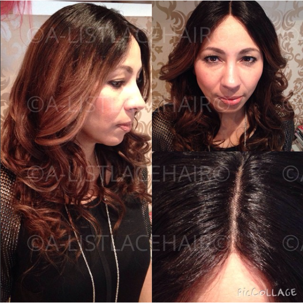 The MANDY - Glueless Full Lace Wig Straight Balayage - Styled Wavy