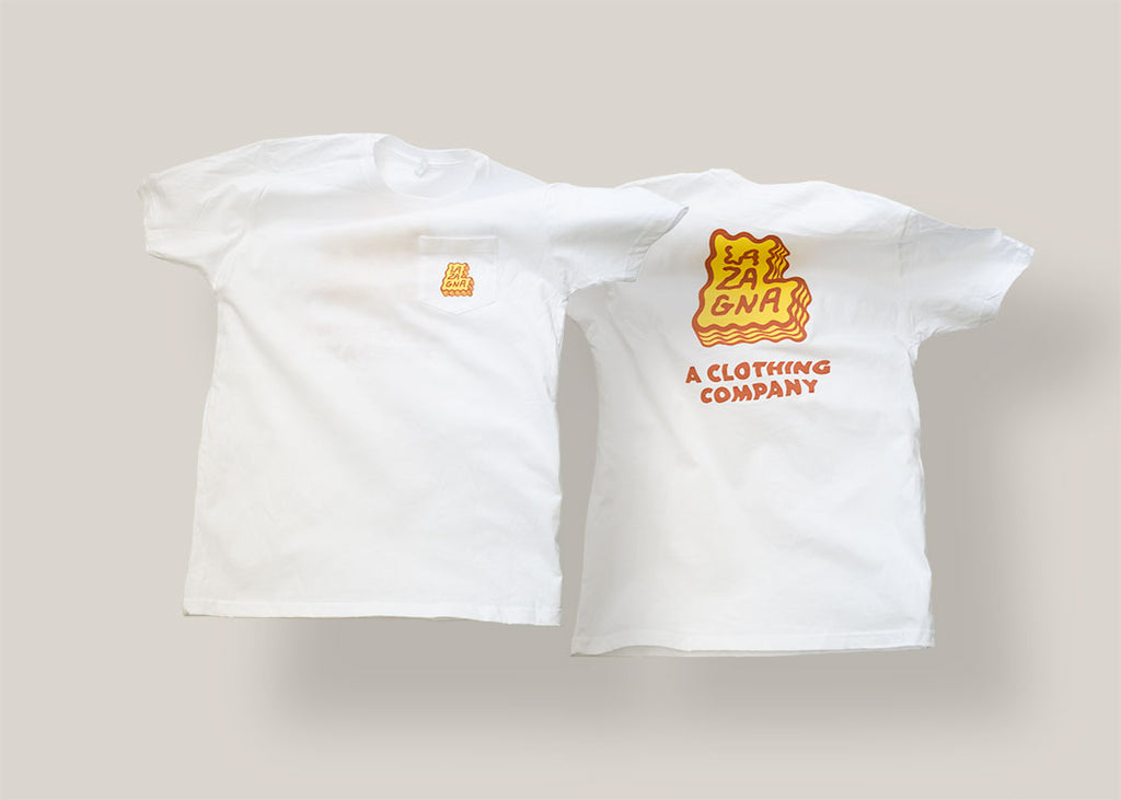 Lazagna Clothing Brand Logo Pocket T-Shirt 100% Cotton