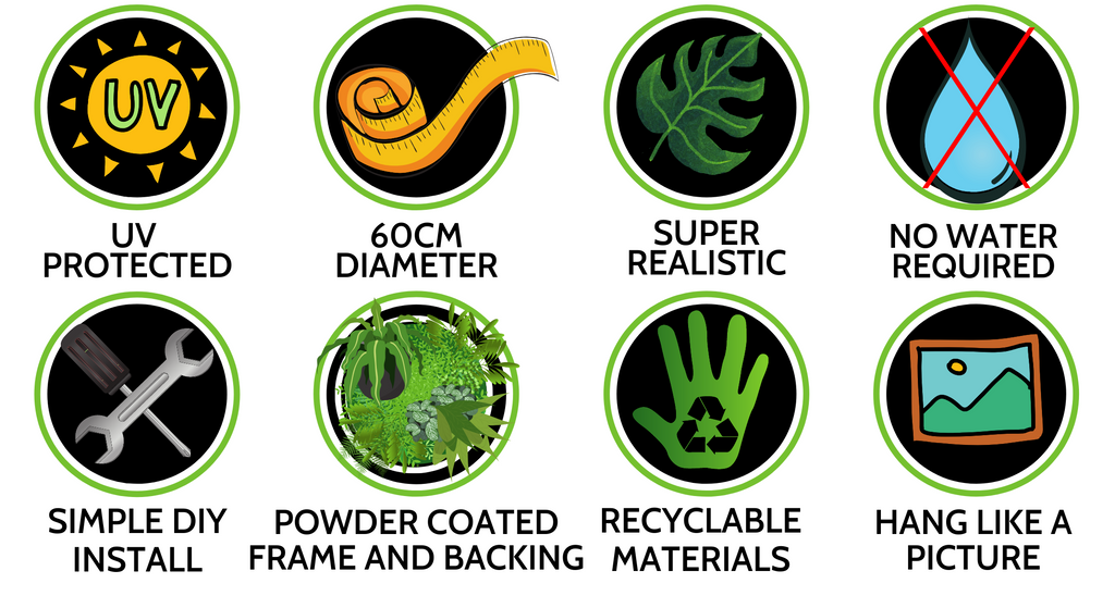 ROUND GREEN WALL DISK SPECS - HEDGE YOURSELF