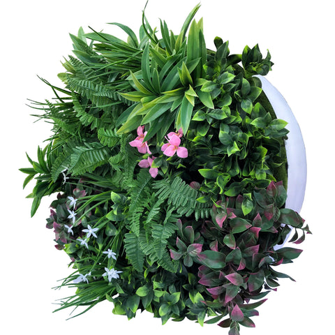 Hedge Panel - When In Doubt Just Add Flowers | Green Wall Disk - 60cm