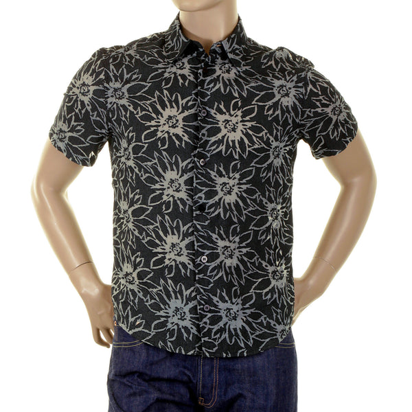 Armani Black Shirt with cut out sheer flower jaquard - Kitmeout