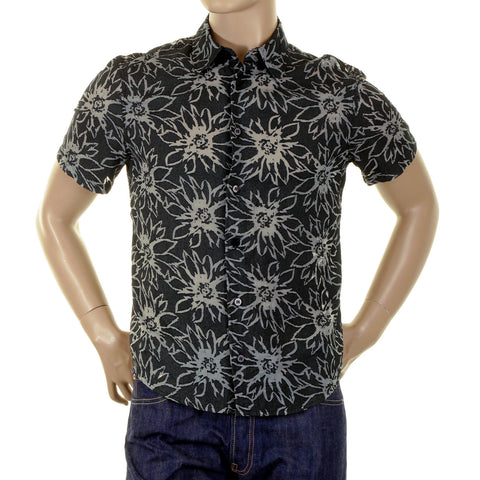 Armani Black Shirt with cut out sheer flower jaquard