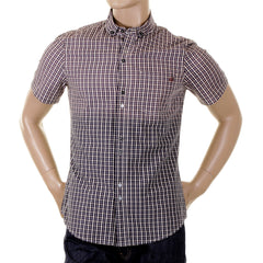 Armani Jeans short sleeve check shirt with embroidered AJ logo