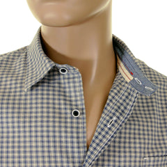 Armani Jeans blue and cream check shirt with AJ logo on back