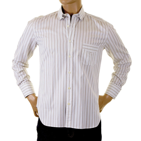 Paul Smith shirt khaki and white striped shirt - Kitmeout