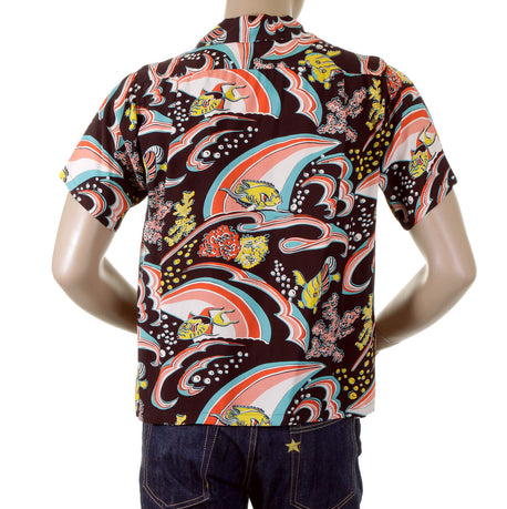 Sun Surf Brown Cuban Collar Hawaiian Shirt with Underwater Coral Print