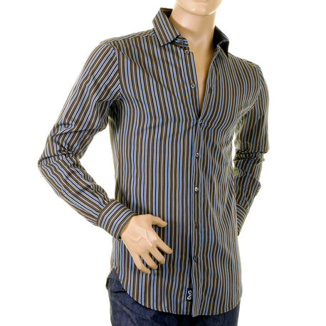 D&G Mens shirt  Dolce & Gabbana Olive Striped shirt - Kitmeout