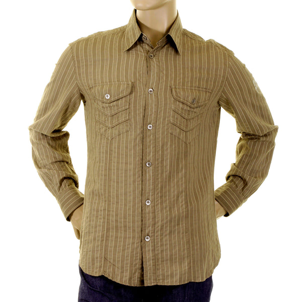 D&G Shirt Dolce & Gabbana khaki striped shirt