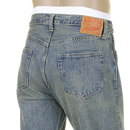 Sugar Cane Mens African Cotton Light Hard Wash Vintage Cut Jeans