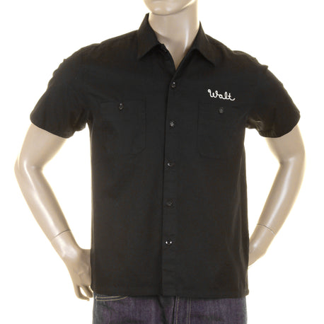 Sugarcane Mens Short Sleeve Regular Fit Black Pleasure Valley Work Shirt