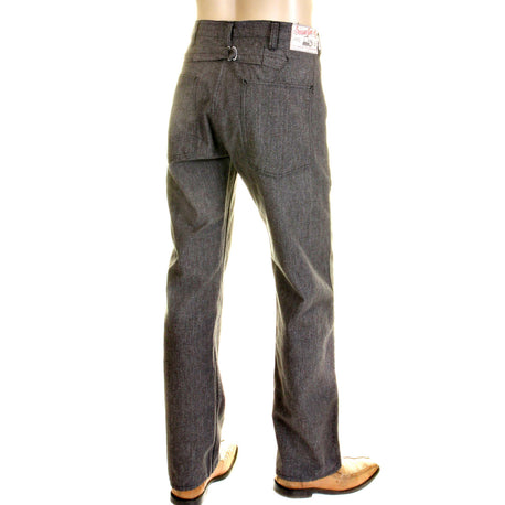 Sugarcane Mens Loose Fit Cotton Charcoal Grey Black Vintage Cut Pants